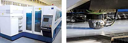 Laser cutting machine and Punching machine in the production plant
